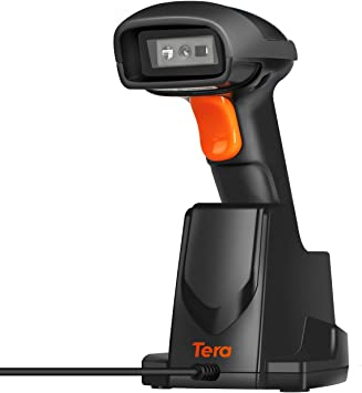 Tera Lector de Codigos de Barras Inalambrico 433Ghz Escaner de Codigo de Barras 1D 2D QR Distancia de Transmisión 100m Soporte Modo de Almacenamiento ...