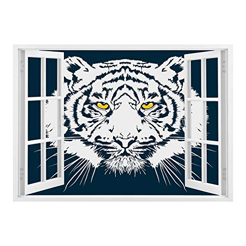 SCOCICI Window Mural Wall Sticker/Tiger,Aggressive Depiction of a Giant Furry Feline Majestic Animal Mascot of Asia,Petrol Blue White/Wall Sticker Mural