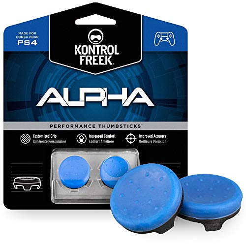 KontrolFreek Alpha for PlayStation 4 (PS4) Controller   Performance Thumbsticks   2 Low-Rise Concave   Blue