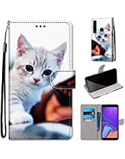 Miagon Full Body Case for Samsung Galaxy A9 2018,Colorful Pattern Design PU Leather Flip Wallet Case Cover with Magnetic Closure Stand Card Slot,Cute Cat