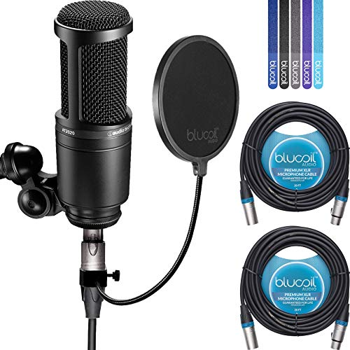 2020 Radio - Audio-Technica AT2020 Cardioid Condenser Studio Microphone BUNDLED WITH Blucoil Pop Filter, 2 Pack of 20-Ft Balanced XLR Cables AND 5 Pack Cable Ties