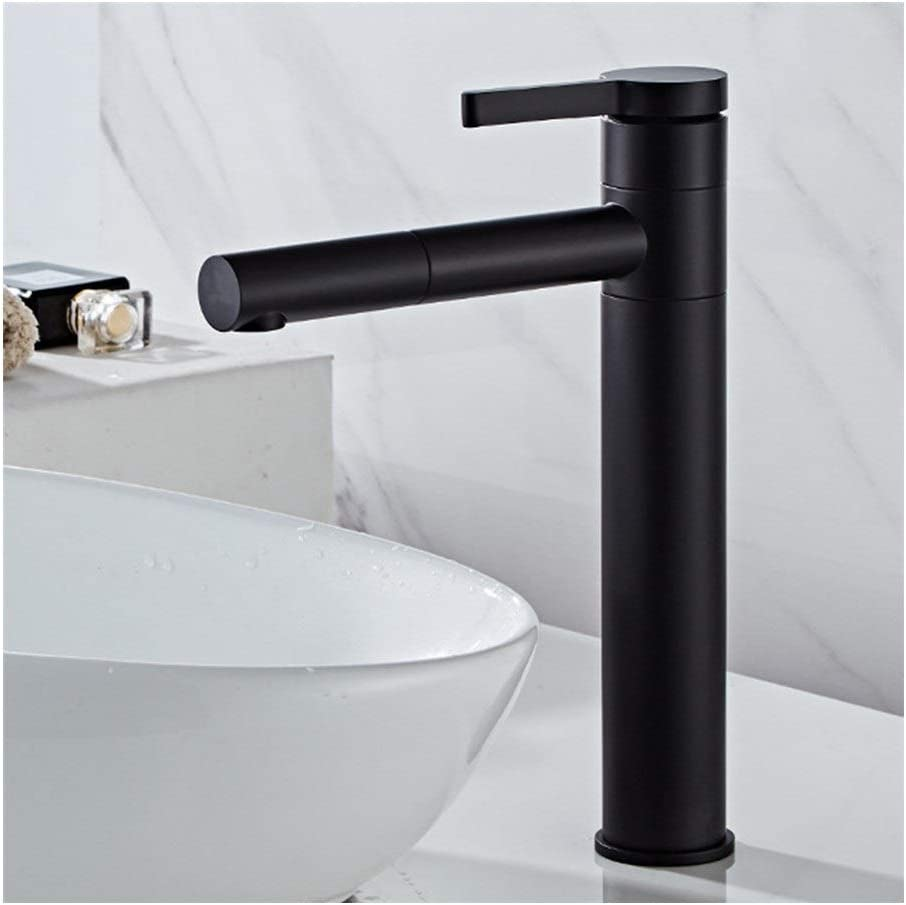 JX All Copper Faucet 360 Degree Rotating Faucet Color : Black, Size : Short with Hose Stylish and Simple Wash Face and Wash Basin Faucet