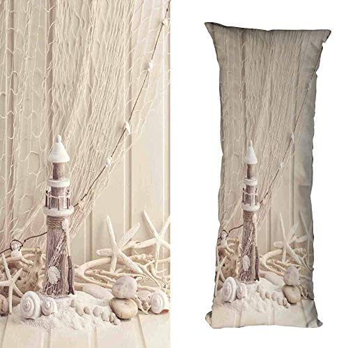Customized Pillowcase Fishing Net Decor Marine Theme Sea Stars and Shells Underwater Life Wooden Lighthouse Soft and Breathable W16 xL23.5 Beige Cream