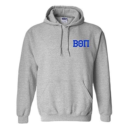 Greekgear Beta Theta Pi World Famous Crest Hooded Sweatshirt Large Sports Grey -