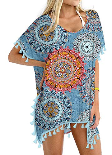 Yincro Women Chiffon Tassel Beach Bathing Suit Swimsuit Cover ups for Swimwear (Size A(Fit US S-M), Mix Flower Navy)