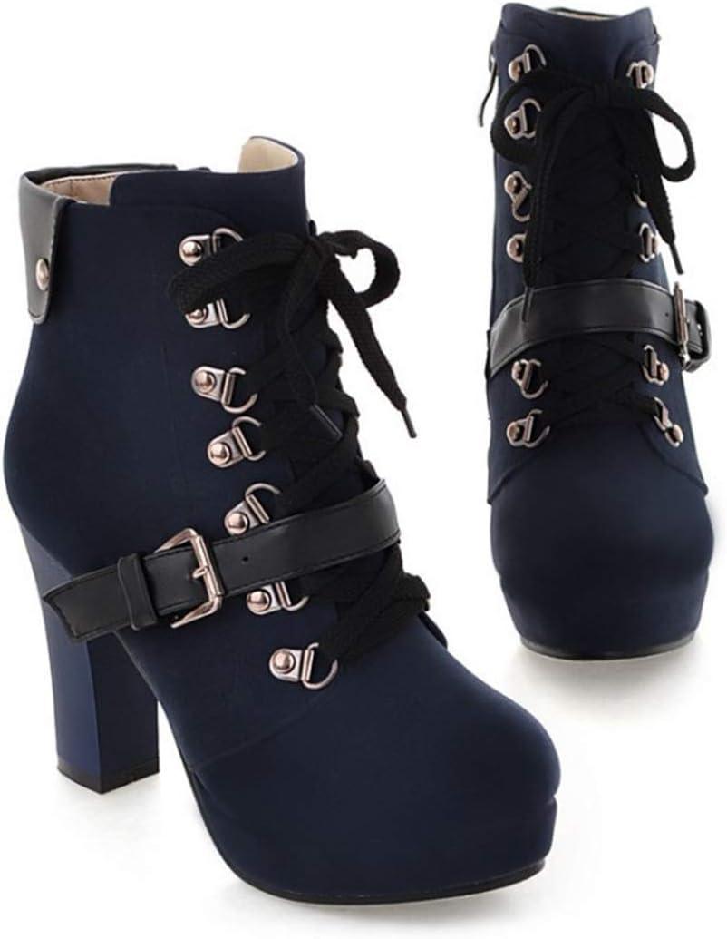 LILIAAS Autunno E Inverno Retro Spessore con Martin Boots Belt Buckle Anteriore Cinghie Breve Stivali Signore Stivaletti Large Size Blue