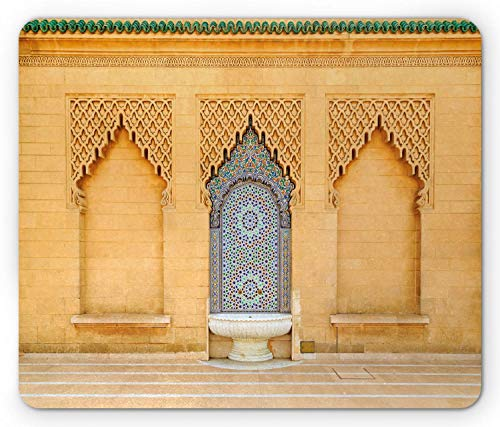 Architecture Rectangle Mouse Pad, Photo of Moroccan Style Fountain with Folkloric Mosaic Tiles, 7.9