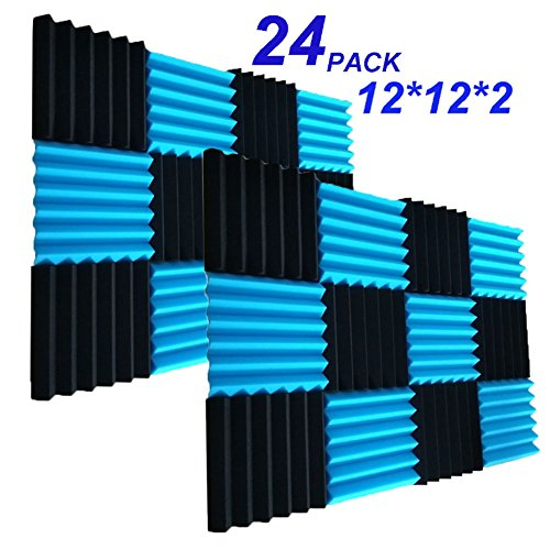 "24 Pack Acoustic Foam Panels 2"" X 12"" X 12"" Soundproofing Studio Foam Wedge Tiles Fireproof - Top Quality - Ideal for Home & Studio Sound Insulation (24PCS, Black&Blue)"
