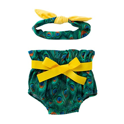 Rucan Peacock Feather Bowknot Diaper Cover Bloomer and Headband Set for Baby Girls (A, 6-12 Months)