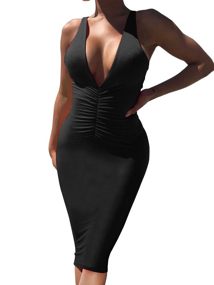 GOBLES Women's Sexy Deep V Neck Sleeveless Bodycon Club Ruched Midi Tank Dress Black