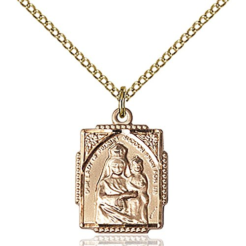 Gold Filled Our Lady of Prompt Succor Pendant 5/8 X 1/2 inches with 18 inch Gold Filled Curb Chain