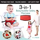 Travel High Chair + Portable High Chair + Toddler Safety Harness + Shopping Cart Safety Strap. Winner of 3 AWARDS! Mom's Choice, Preferred Choice & Family Choice! Space-Saver High Chair-Great for Travel/Home-Black