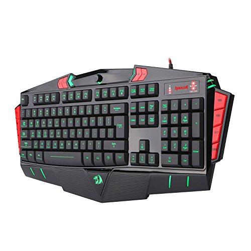 Redragon K501 Gaming Keyboard Asura 7 Color LED Backlight Illuminated PC Computer Gaming Keyboard, 104 Standard Keys, 8 Programmable Macro Keys, With Wrist Rest, Anti-Ghosting Waterproof Design