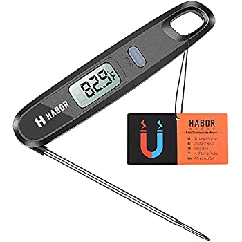 Habor UPGRADE Instant Read Meat Thermometers, Magnetic Digital LCD Cooking Thermometer Electronic Food Candy Thermometers With Foldable Probe For Milk, Tea, BBQ, Kitchen, Barbecue, Grill Smoker