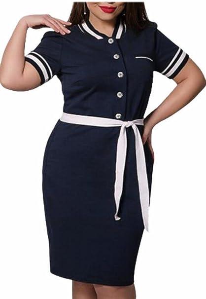Jaycargogo Women\'s Plus Size Belted Bodycon Work Party Polo ...