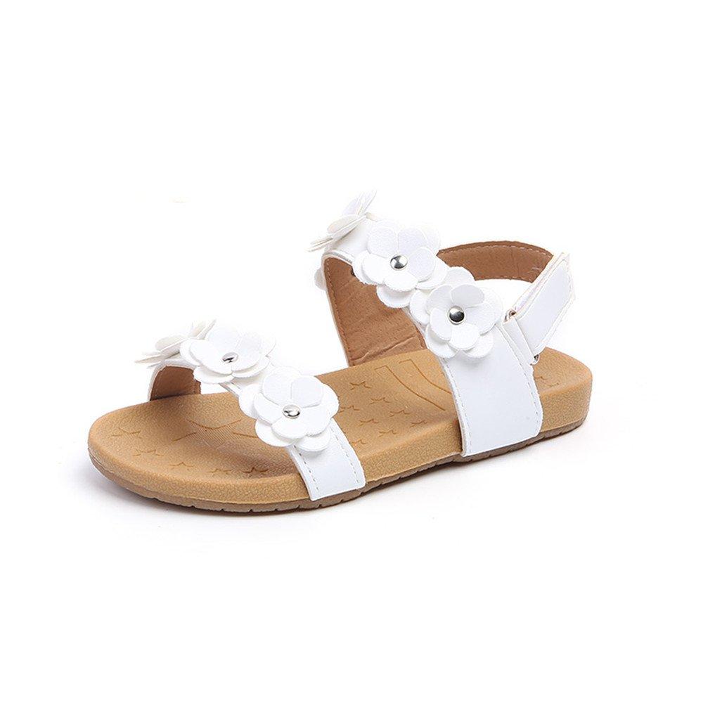 MIGO BABY Toddler Girls Flower Open Toe Strap Sandals Summer Flat Princess Shoes Toddler//Little Kid