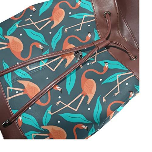 Flamingo Flamenco sommarmönster ryggsäck handväska mode PU-läder ryggsäck ledig ryggsäck för kvinnor