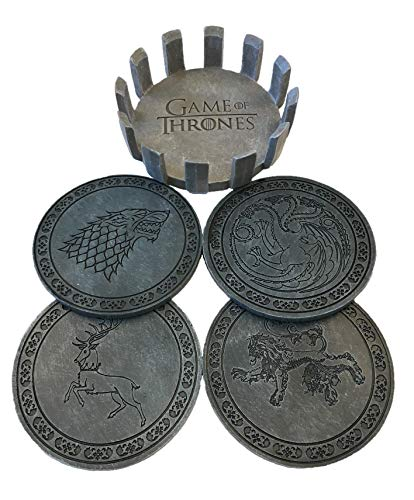 Game of Thrones Drink Coaster Set with Holder- House Sigil Beverage Coasters - Set of Four Faux Sandstone Coasters- Cork Backed by Rabbit Tanaka (Image #5)