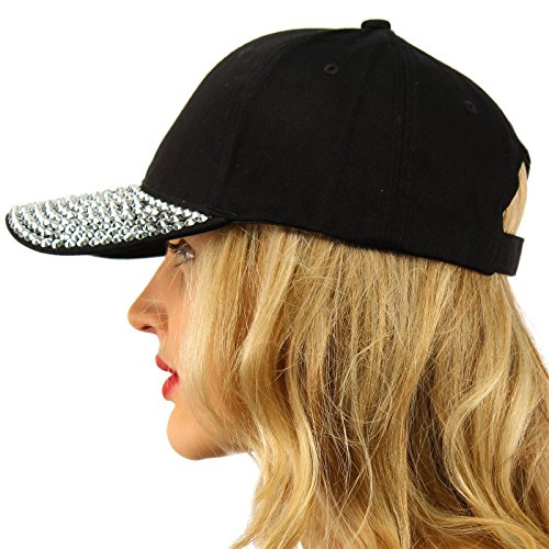 Everyday Plain Blank Bling Rhinestones Visor Baseball Sun Ball Cap Hat Black (Rhinestone Hat Baseball Black)
