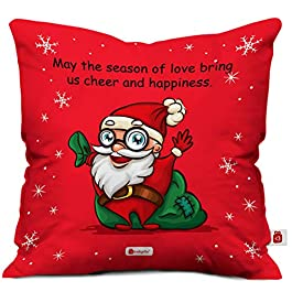 Indigifts Micro Satin Cheerful Santa Print Cushion Cover with Filler as Xmas Gift (Red, 12×12 inches)