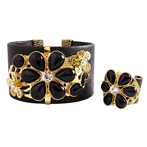 Jeweled Cuff Bracelet - JW010705 -Dazzling Black Jeweled Cuff Bracelet with Finger Ring