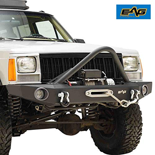 (EAG Stinger Front Bumper with Winch Plate for 84-01 Jeep Cherokee XJ)