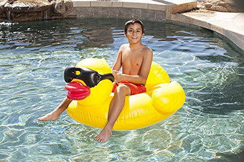 48 Inch Inflatable Derby Duck Swimming Pool Float - Supports 175 - Duck Sunglasses With