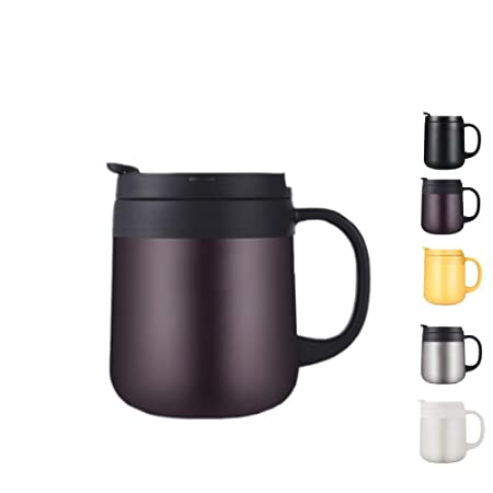 Loiofoe 0.34L Taza Térmica Taza de café con Aislamiento de Acero Inoxidable de Acero Inoxidable - Taza de café Termo con Aislamiento al vacío (Marrón)