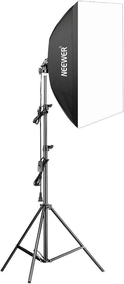 Neewer – 350 W fotografía caja de luz Kit de iluminación – 24 x 24 pulgadas/60 x 60 cm softbox difusor con Triple color E27 85 W 5500 K luz bombilla y (
