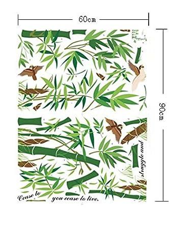 ufengke/® Chinois Style Vert Bambou et Oiseau Stickers Muraux Salle de S/éjour Chambre /à Coucher Autocollants Amovibles
