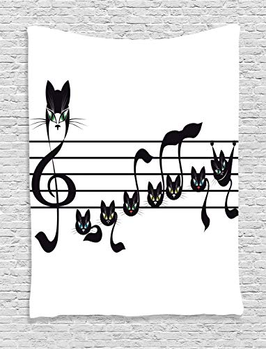 Ambesonne Music Decor Collection, Notes Kittens Cat Artwork Notation Tune Children Halloween Style Pattern, Bedroom Living Room Dorm Wall Hanging Tapestry, Black Green -