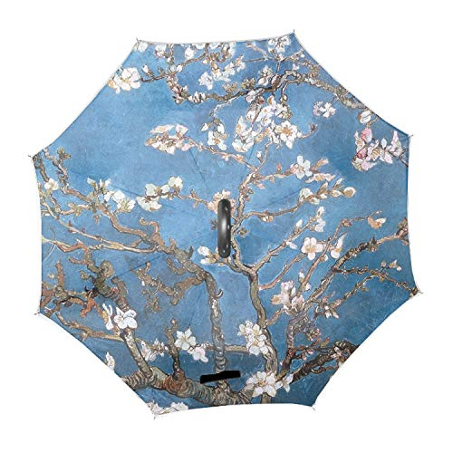 Blossoms Vincent Van Gogh Almond Double Layer Inverted Umbrella with C-Shaped Handle,Car Rain Outdoor Use