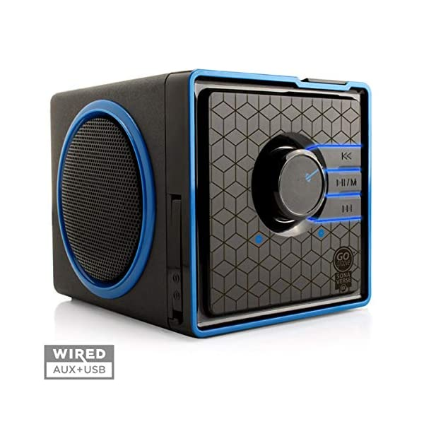 Portable Speaker with USB Music Player - Cube Speaker with USB Flash Drive MP3 Input, 3.5mm AUX Port, Playback Controls, Rechargeable Removable Battery (Wired, Blue) 3