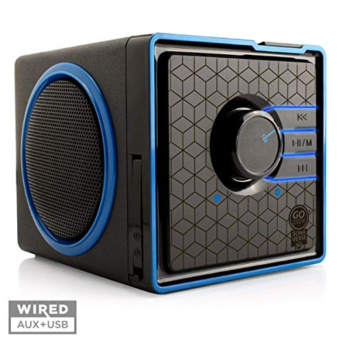 GOgroove SonaVERSE BX Portable Speaker with USB Music Player - Cube Speaker with USB Flash Drive MP3 Input