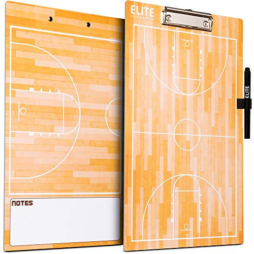- Elite Clipboards Double Sided Dry Erase Coaches Marker Board (Basketball)