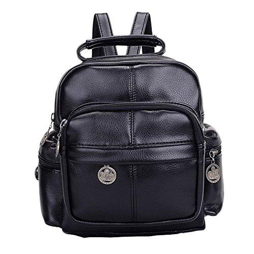 ACME - Femme Fille Petit Sac à dos En cuir Style vintage Fashion Pour Voyage Camping Schoolbag Backpack school Noir