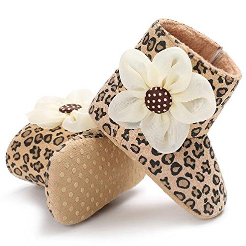 YiJee Baby Mädchen Classic Blume Schuhe Herbst und Winter Niedlich Kinderschuhe mit Weiche Sohlen Leopard