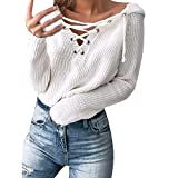 Clearance Women Shirts Teen Girls Lace Up Sweater Blouse Hoodied Sweatshirt Plluover Tops for Autumn