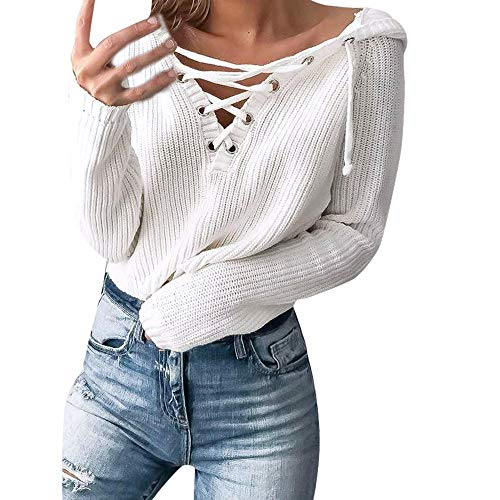 Oasisocean Womens Waffle Knit Tunic Blouse Tie Knot Henley Tops Hooded Lace Up Collar Sweater Pullover Long Sleeve Shirts ()