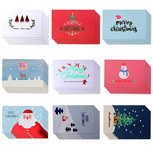 Assorted 45 Pack Merry Christmas Greeting Cards - Cartoon Holiday Designs - with Envelopes Included