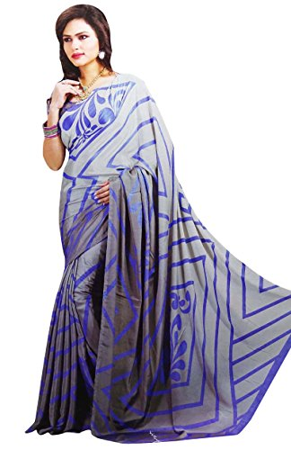 [Unstitched Ethnic Wear Printed Crepe Saree Indian Costume Sari With Blouse] (Bollywood Costume Party)