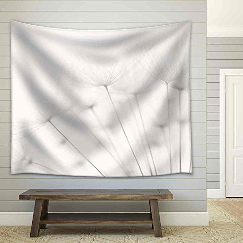 Dandelion and Seeds Colored Black and White Photo Fabric Wall Tapestry