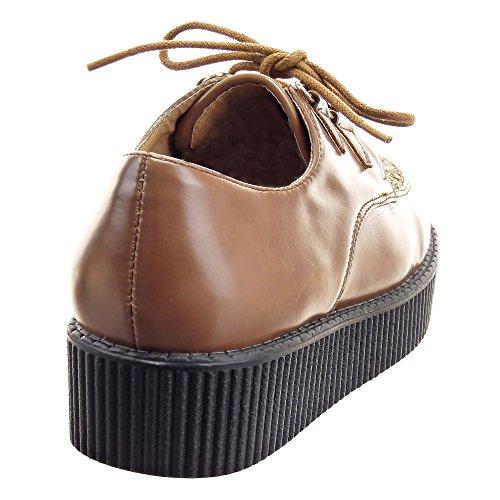 Sopily - Zapatillas de Moda zapato derby Zapatillas de plataforma Tobillo mujer encaje Talón Plataforma 4 CM - Taupe