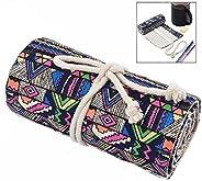 iwobi Portable Canvas Pencil Wrap Case,72 Holes Pencil Roll Up Case Travel Pen Bag
