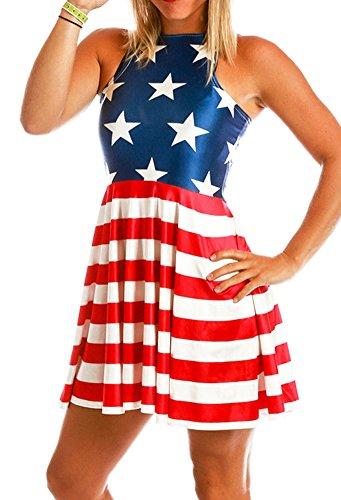 Lady's Mini Tank America Dresses the Stars and Stripes Print Swing Dress L