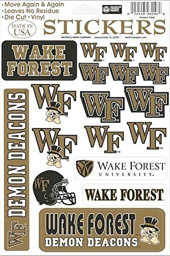 Wake Forest Demon Deacons Vinyl Cling Stickers 18 Removeable Decals NCAA Licensed ()