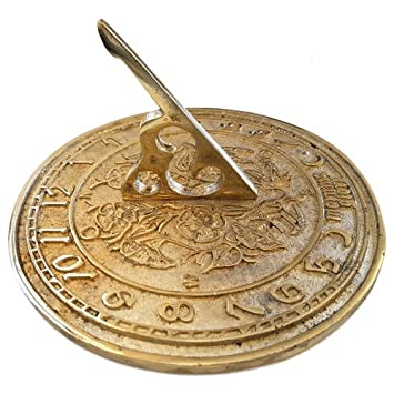 Round Large Sunny Hours Brass Sundial Plain 185mm