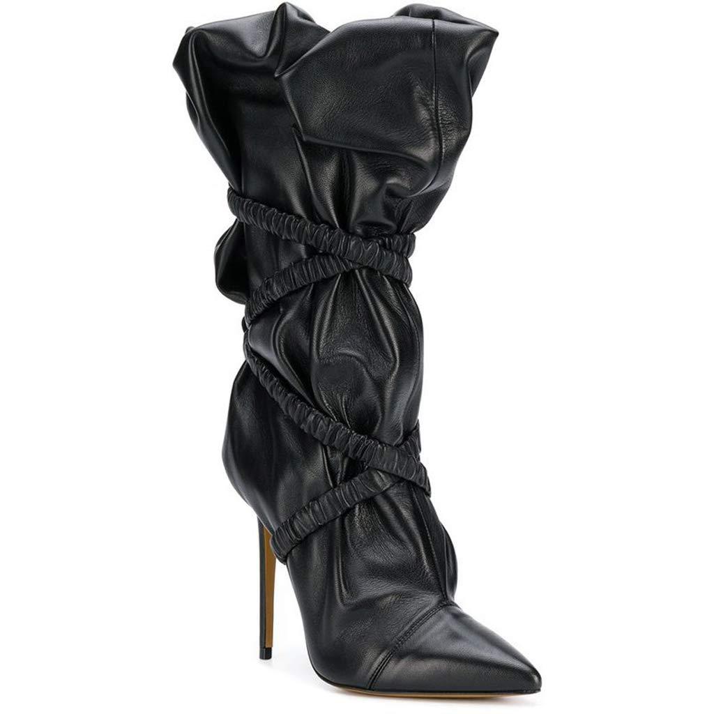 TYX-TT Lange Stiefel, Spitze Plissiert Stiletto Ferse Ärmel Mode Damen Stiefel
