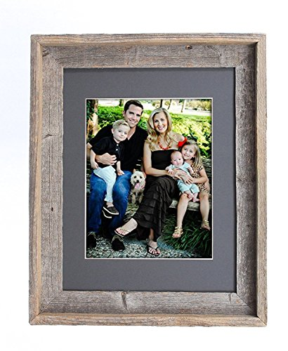 BarnwoodUSA 11x14 Inch Signature Picture Frame for 8x10 Inch Photos - 100% Reclaimed Wood, Cinder Mat (Picture Frames Reclaimed Wood)