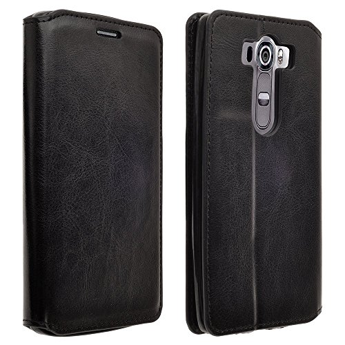 LG G4 Case, Deluxe Pu Black Pu Leather Folio Wallet Flip Case Cover With Kickstand For LG G4 (Black Slim ()